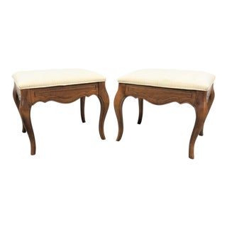 French Style Maple Tufted Upholstered Footstools - a Pair For Sale