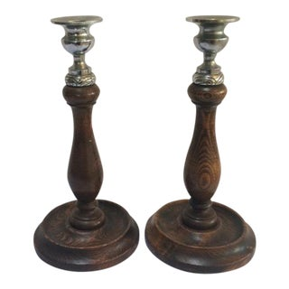 1900s English Traditional Oak Candlesticks - a Pair