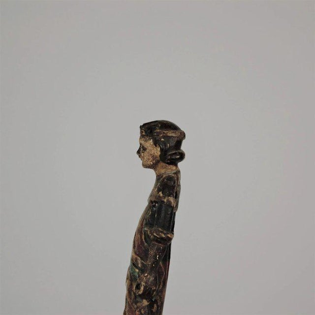 19th Century Carved Wood Youth For Sale - Image 9 of 13