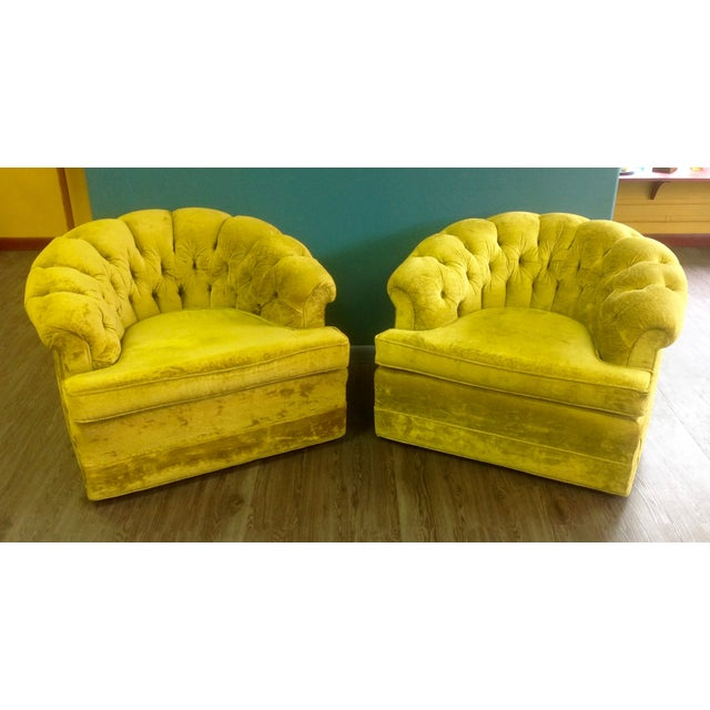 Mid-Century Tufted Chartreuse Club Chairs - A Pair - Image 2 of 8