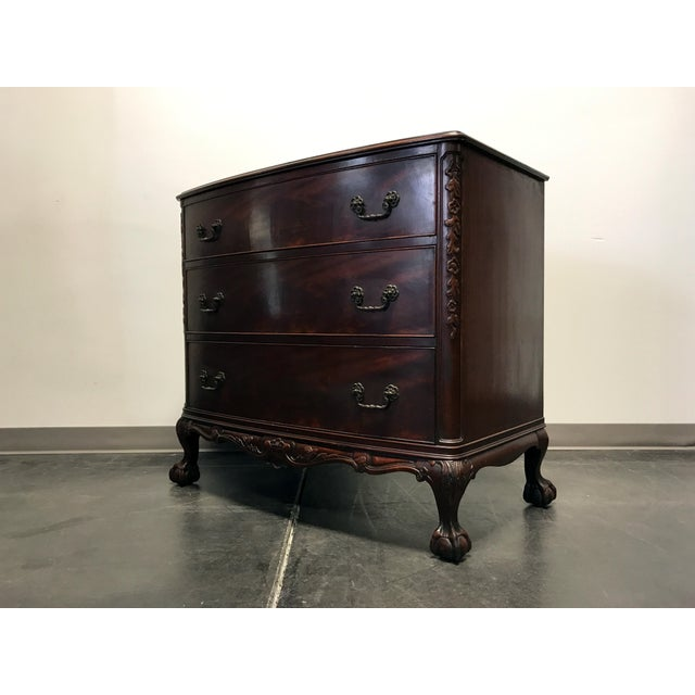 Vintage Mahogany Bow Front Bachelor Chest w/ Ball and Claw Feet For Sale - Image 5 of 11