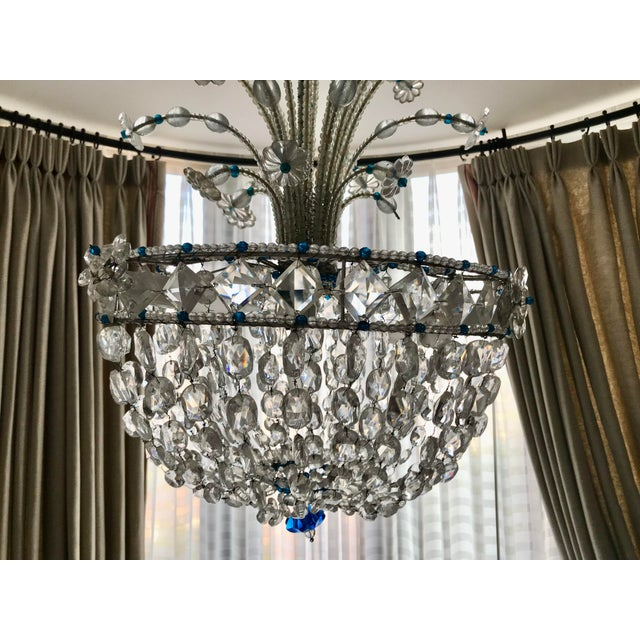 Transparent 1940s Mid Century French Crystal Chandelier For Sale - Image 8 of 13