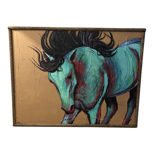 Contemporary Original Acrylic Mixed Medium Painting of Horse For Sale