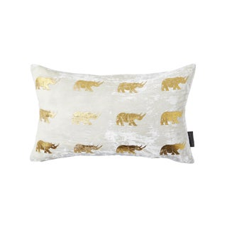 Arusha Ivory Velvet Accent Pillow With Rhinos