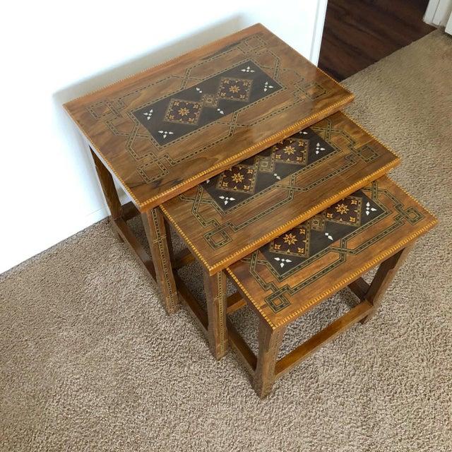 Ebony 1990s Mosaic Inlay Syrian Walnut Nesting Tables - Set of 3 For Sale - Image 7 of 7