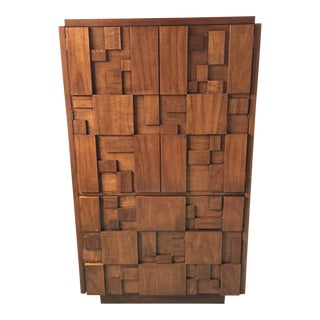 1976 Lane Brutalist Walnut Wardrobe