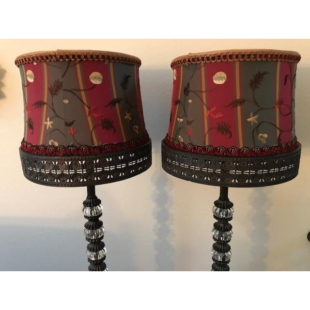 These lamps have a very different kind of lamp shade, built into the lamp itself. They are in excellent condition.
