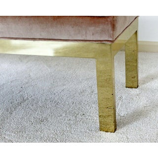 Mid Century Modern Paul Evans Style Tufted Velvet Solid Brass Bench Seat 1960s Preview