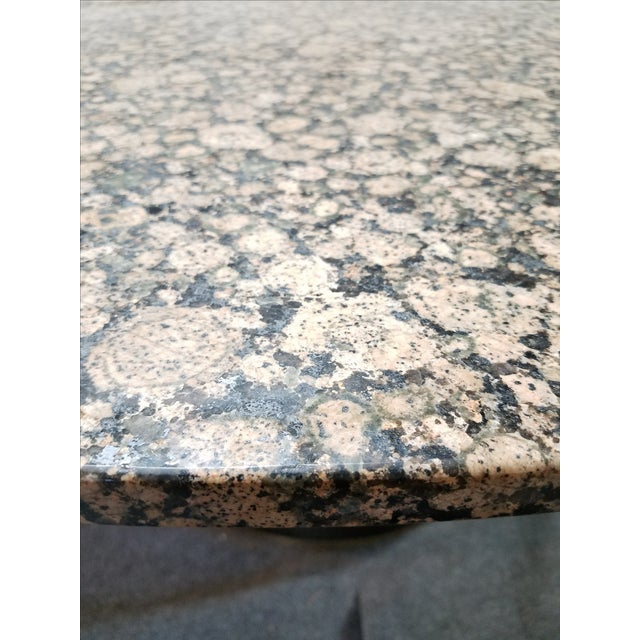 Round Granite Marble & Drum Base Dining Table For Sale - Image 5 of 6