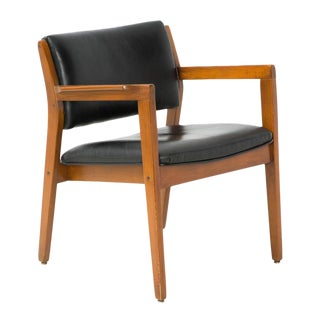 Danish Modern Black Leather Dining Armchair For Sale
