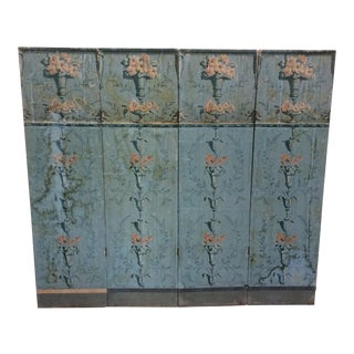Antique Wallpapered Folding Screen