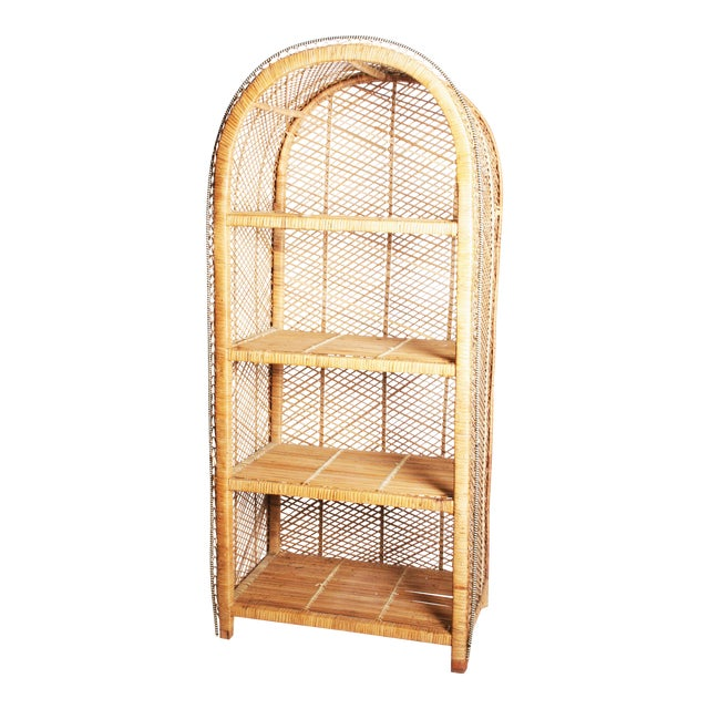 best service 121ae 14ecf Vintage Boho Chic Wicker Bookcase with Dome Top