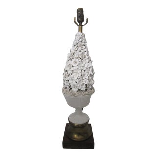 1970s Italian White Majolica Lamp For Sale