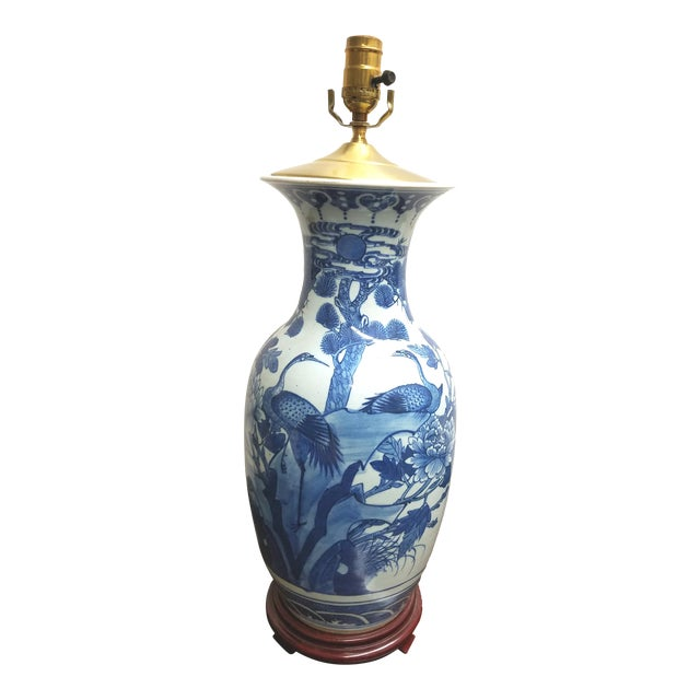 Vintage Chinese Hand Painted Blue and White Table Lamp With Cranes and Flowers For Sale