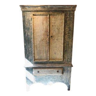 Late 18th Century Swedish Distressed Blue Jämtland Cabinet For Sale