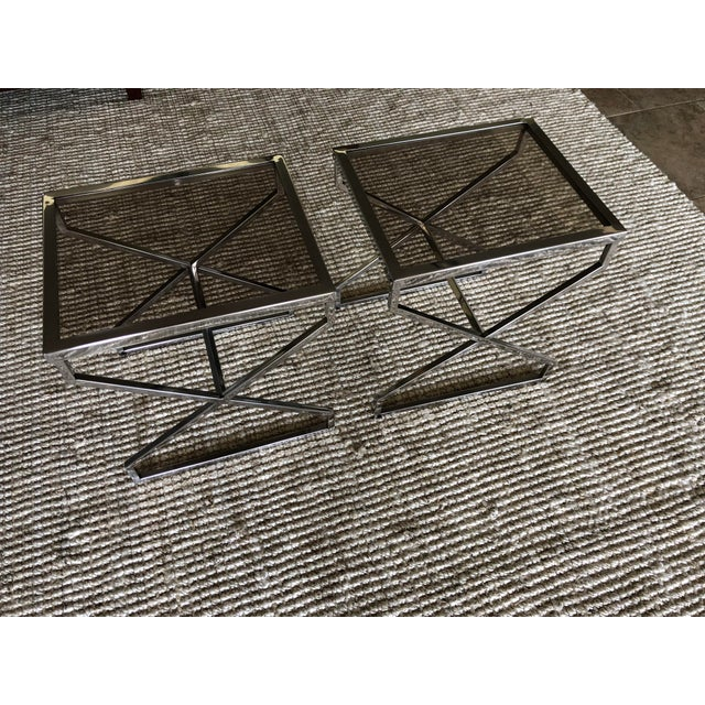 Chrome X Frame Side Tables - a Pair For Sale - Image 4 of 4
