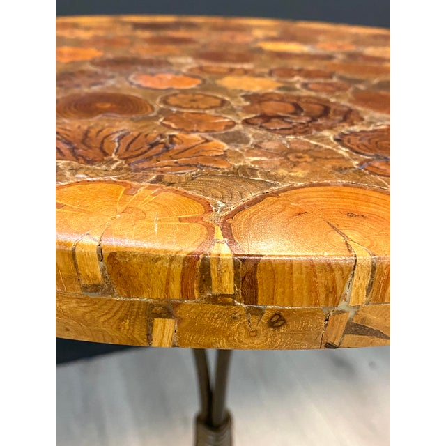 Contemporary Contemporary Small Bistro Style Side Table Wood Inlay Amazing Detail Metal Base For Sale - Image 3 of 7
