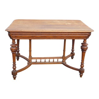 Antique Spanish Style Library Table Desk W Stretcher Mission Style For Sale