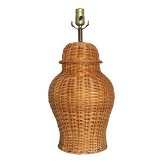 Vintage Chinoiserie Rattan Ginger Jar Table Lamp For Sale