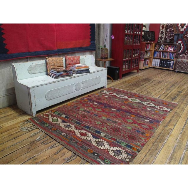 """A beautiful old tribal flat-weave from Western Turkey, woven in the intricate """"jijim"""" brocading technique, with..."""
