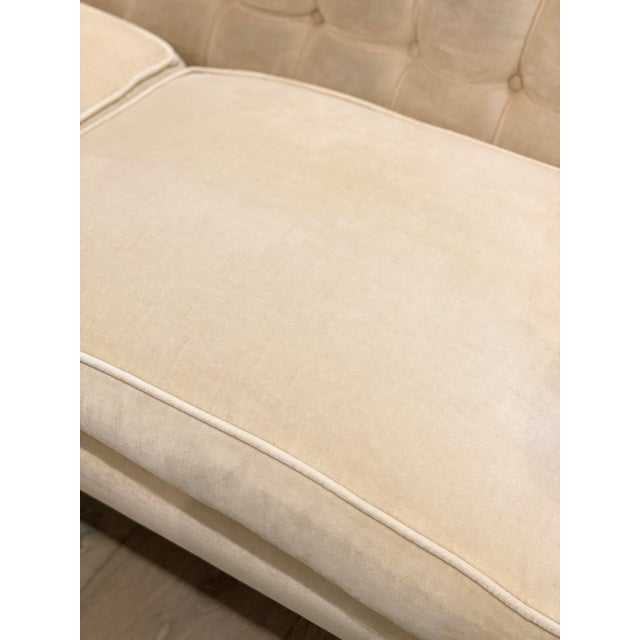 Contemporary Grace Home Furnishings Beige Velvet NailHead Contemporary Sofa For Sale - Image 3 of 13