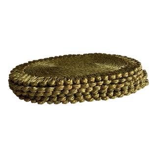 Vintage Green Woven Rope Placemats, Set of Four For Sale