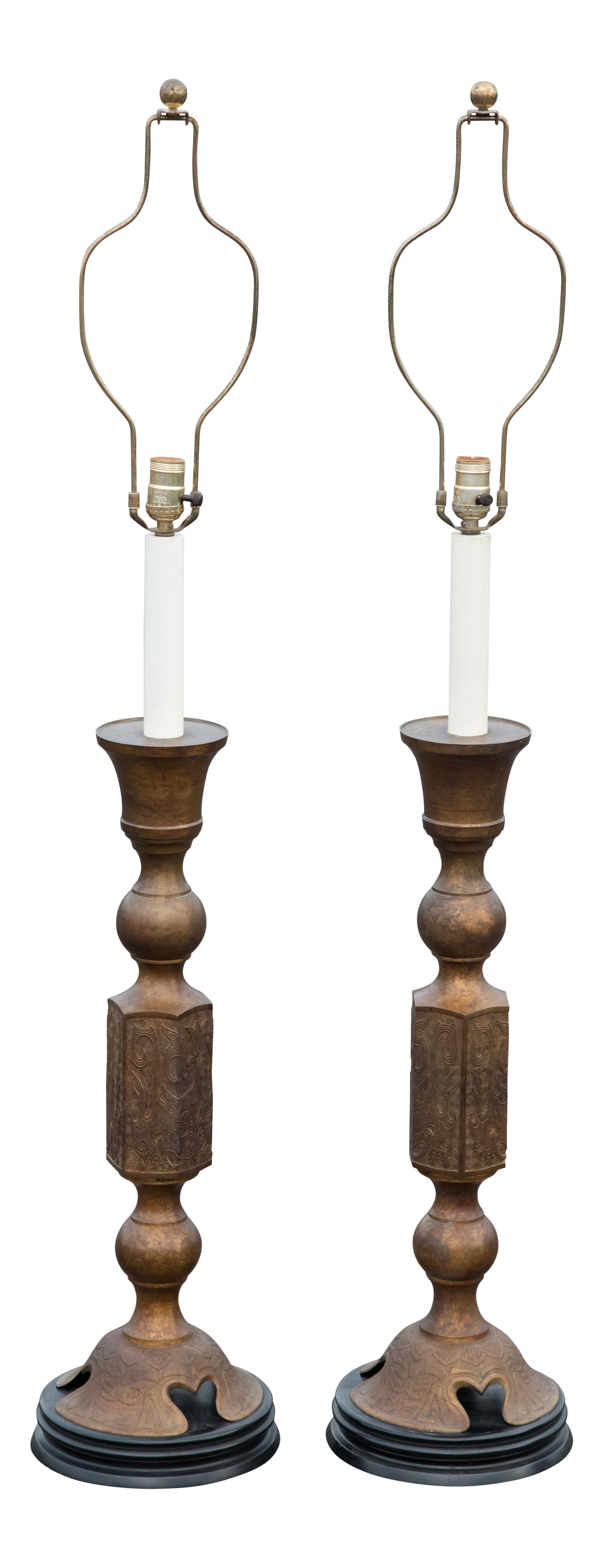 1960s James Mont Style Japanese Altar Candle Table Lamps   A Pair