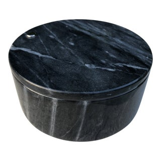 Vintage Round Black Marble Swivel Top Stash Box For Sale