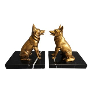 Bronze German Shepherd Dog Bookends - a Pair For Sale