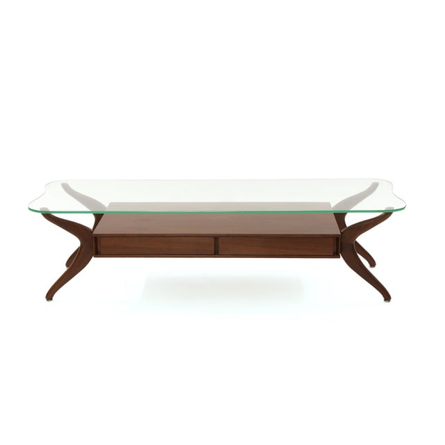 Free Form Walnut and Glass Cocktail Table For Sale In Phoenix - Image 6 of 6