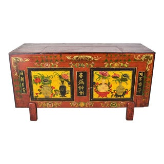Late 19th Century Antique Asian Hand Painted Storage Chest For Sale