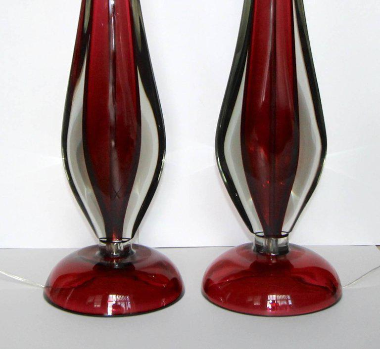 Large Flavio Poli Seguso Sommerso Murano Red Glass Table Lamps A