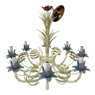 1920s Floral Tole Metal Chandelier For Sale