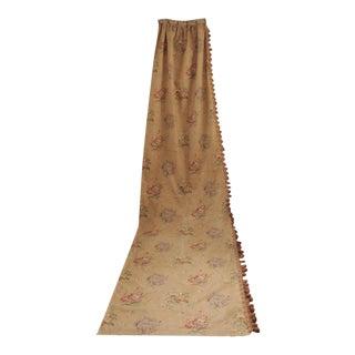 Long Curtain Antique French W/ Trim Linen & Cotton MIX Floral Fabric Circa 1890 For Sale