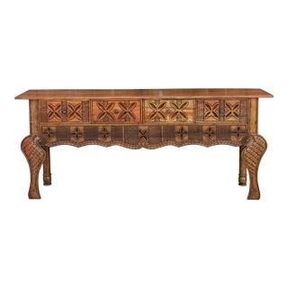 Elegant Aku Brown Nahuala Carved Console For Sale