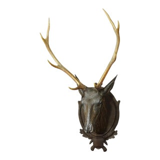 Great Livesize Wooden Stag Head With Real Antlers Ca. 1880 For Sale