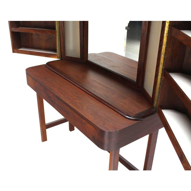 Art Deco Rosewood Art Deco Open Up Vanity with Light and Matching bench For Sale - Image 3 of 10