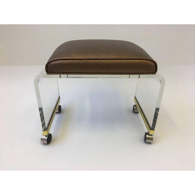 Modern Acrylic Waterfall Vanity Stool on Casters by Hill Manufacturing Corp For Sale - Image 3 of 8