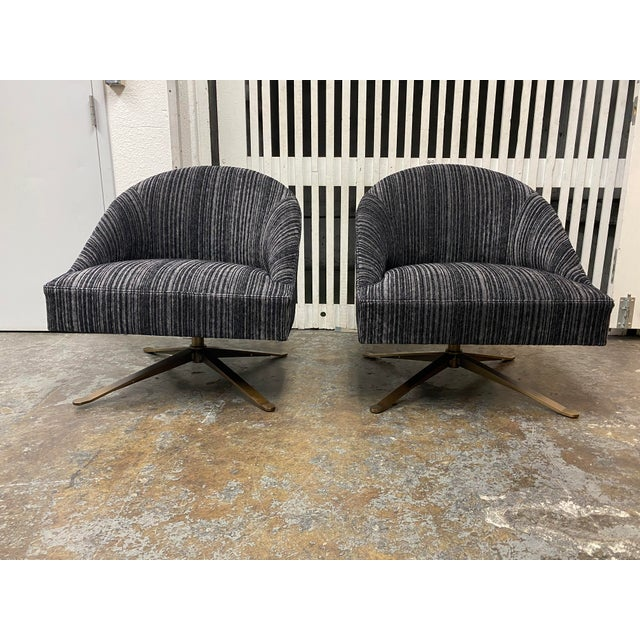 Brand New Lee Industries Swivel Chairs + Charcoal Larsen Fabric - a Pair For Sale - Image 10 of 10