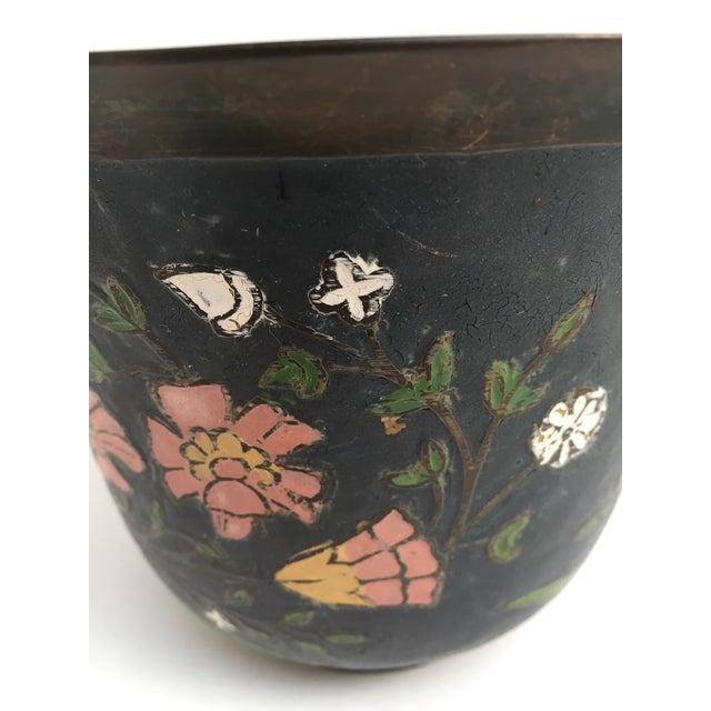 Metal Asian Cloissone Enamel Vessel With Floral Design For Sale - Image 7 of 10