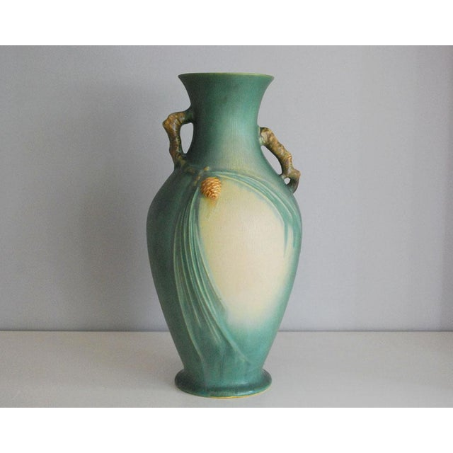 Roseville Pottery 1930s Arts and Crafts Roseville Pottery Green Pinecone Floor Vase For Sale - Image 4 of 10