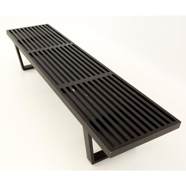 Brown Vintage Mid Century George Nelson for Herman Miller Slat Bench For Sale - Image 8 of 10
