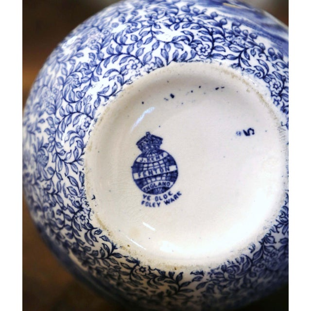 Early 20th Century English Blue and White Painted Faience Delft Vases - a Pair For Sale - Image 10 of 11