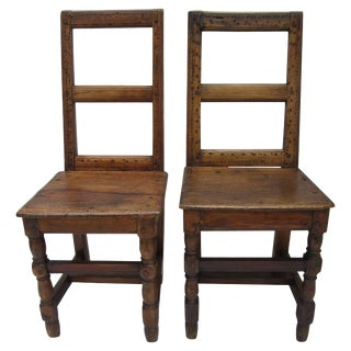 Pair of 17th Century French Walnut Side Chairs For Sale