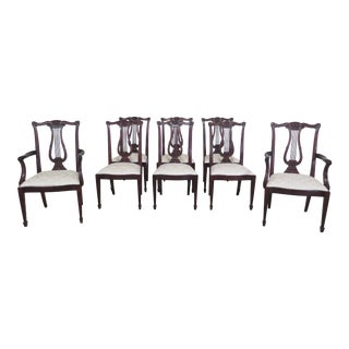 Henkel Harris Lyre Style Mahogany Dining Room Chairs- Set of 8 For Sale