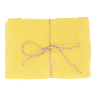 Citron Linen Tablecloth 170 x 250 For Sale
