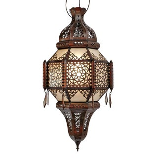Moorish Frosted Glass & Tin Lantern For Sale