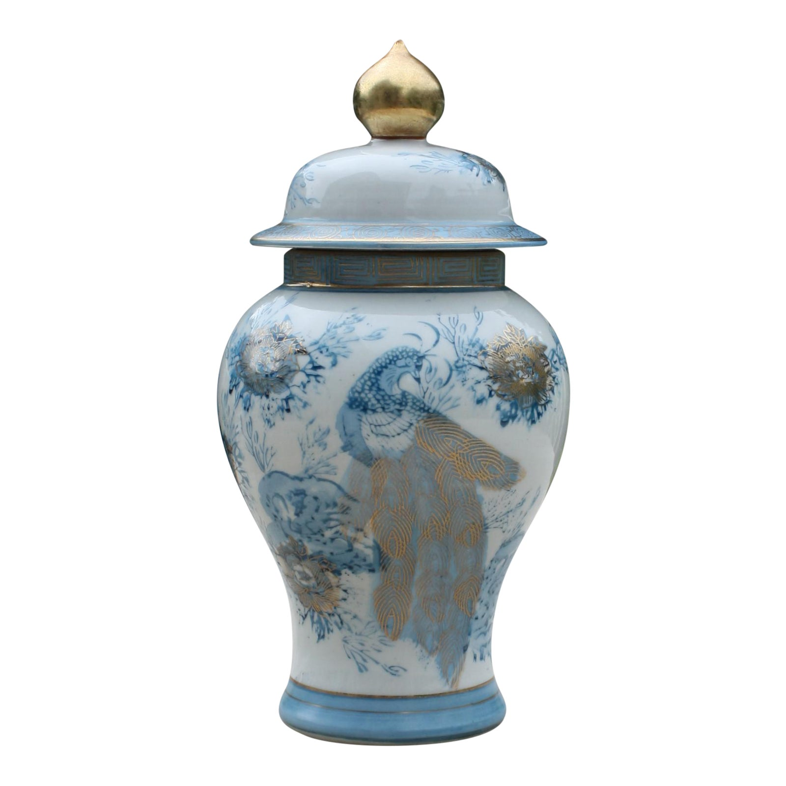 Vintage Blue White Amp Gold Kutani Porcelain Temple Jar