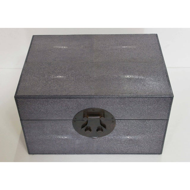 Early 21st Century Gray Shagreen Wood Box For Sale - Image 5 of 8