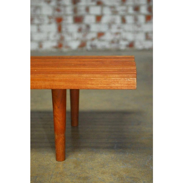 Mid-Century Modern Low Slat Wood Bench Coffee Table For Sale In San Francisco - Image 6 of 9